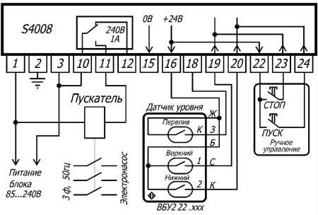 Схема подключения блока управления насосом.