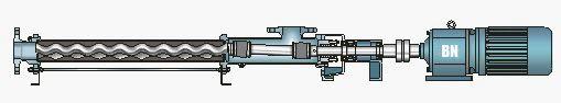 Классическая горизонтальная компоновка винтового насоса с подшипниковой стойкой
